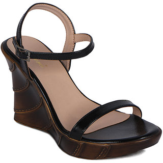 Flora Black Heeled Sandal