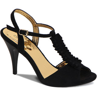 Flora Suede Black Stiletto Sandal