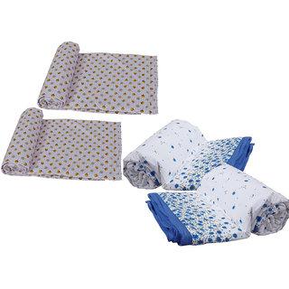 IndiWeaves Combo offer of Micro Fiber Single Bed Dohar (2 Pieces) with Cotton Single Bed Dohar (2 Pieces) - (Pack of 4 Dohars)