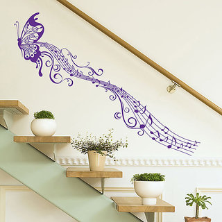 Wall Dreams Purple Butterfly Design With Music Notes  Wall Stickers (50cmX70cm)