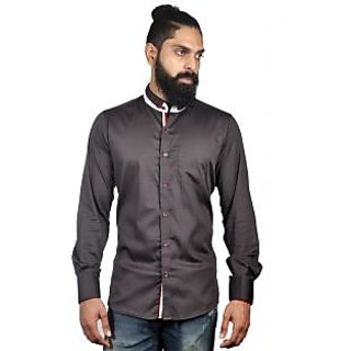 Verzari Mens Solid Party Wear Brown Shirt