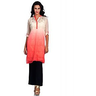 Basil Leaf Embroidered Straight Georgette Womens 3/4th Sleeve Kurta