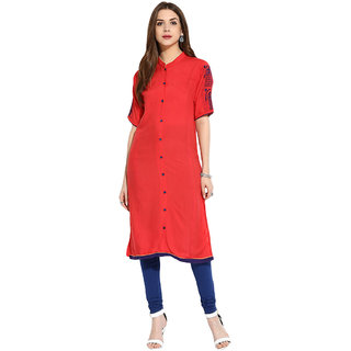 Mytri Red Rayon Straight Kurti
