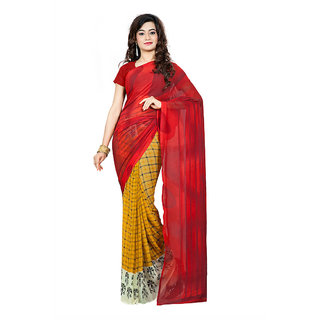 Fabdeal Casual Wear Red Colored Printed Georgette Saree/Sari