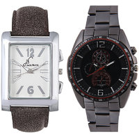 Jack Klein Combo Of Leather And Metal Strap Rectangular And Round Dial Elegant Analog Wrist Watches