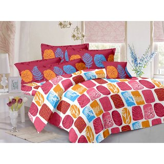 Valtellina Purple  Natural Design Color Fastness Cotton Double Bedsheet with 2 CONTRAST Pillow Cover-Best TC-175