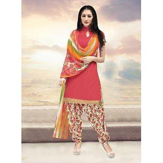 Sareemall Pink Dress Material with Matching Dupatta 11SNH11007