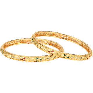 R18Jewels-FashionU Non Plated Gold,Green,Maroon,Multi Bangles For Women-R18JFU05161002A