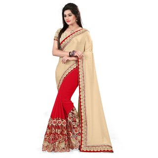 Snapshopees Good Looking Designer Embroidery Festive Wear Georgette Saree(CREAM)