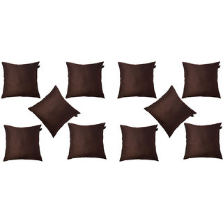 Lushomes Brown Dupion Silk Cushion Covers (Pack of 10)