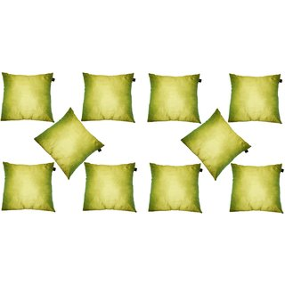 Lushomes Green Dupion Silk Cushion Covers (Pack of 10)