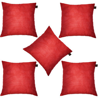 Lushomes Red Dupion Silk Cushion Covers (Pack of 5)
