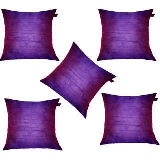 Lushomes Purple Dupion Silk Cushion Covers (Pack of 5)