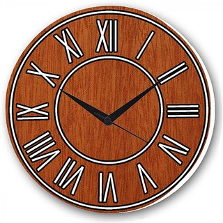 Czds India Wooden Pattern Wall Clocks with Battery