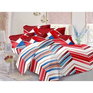 Valtellina Red  Stripes Design 100 Organic Double Bedsheet with 2 CONTRAST Pillow Cover-Best TC-175