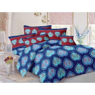 Valtellina Blue  Floral Design Super Soft Cotton Double Bedsheet with 2 CONTRAST Pillow Cover-Best TC-175