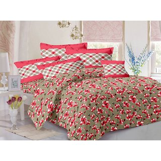 Valtellina Red  Floral Design Herbal Cotton Double Bedsheet with 2 CONTRAST Pillow Cover-Best TC-175