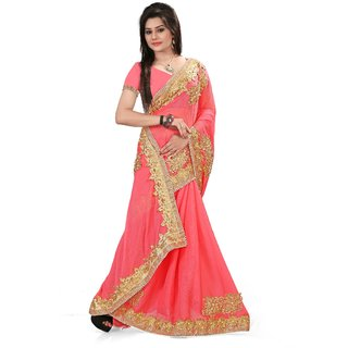 Snapshopees Gorgeous Designer Embroidery Festive Wear Georgette Saree(PINK)