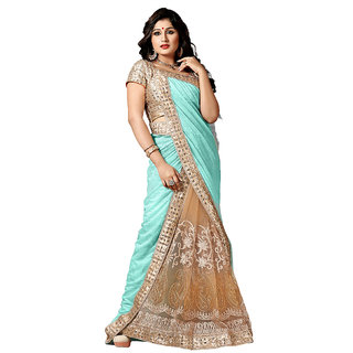 Snapshopee Multicolor Lycra Embroidered Saree With Blouse