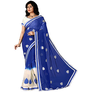 Snapshopee Blue Georgette Plain Saree With Blouse