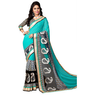 Snapshopee Blue Georgette Block Print Saree With Blouse