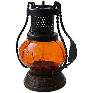 Desi Karigar Wooden  Iron hand carved Colored Chimney Lantern design Orange