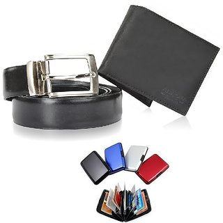 Meet critive Men's Belt + Wallet + Aluma Wallet Combo