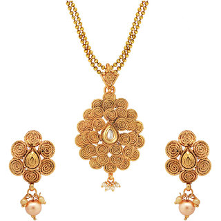 Om Jewells Traditional Ethnic Spiral Paisley Necklace Set with Pearl Drop PS1000715