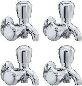 Snowbell Bib Cock 2 in 1 Continental Brass Chrome Plated - Set Of 4