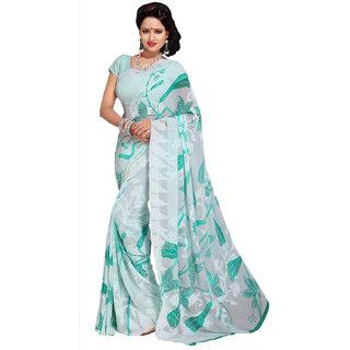 Snapshopees Self Designer Printed Green Silk Saree (White)