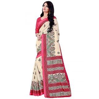Saree Mall Cream  Multi Manipuri Silk Printed Saree With Unsitiched Blouse KLM8602-B