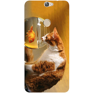 Casotec Cat and Fish Design 3D Printed Hard Back Case Cover for Coolpad Max