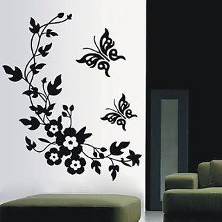 Butterflies Flowers Vinyl Sticker Wall Art Drawing Room Waiting Mural Art12