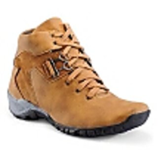 SHOES T20 MENS HARD ROCK FAUX LEATHER BOOTS TAN