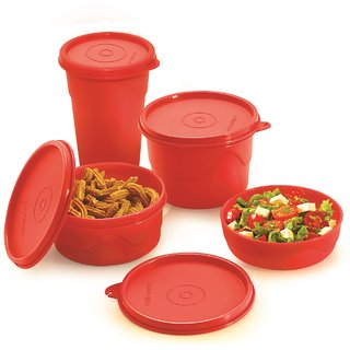 ab9358c9f Cello Max Fresh Round Containers Set Of3Pcs 225+375+550Ml + 1 Max Fresh  Dinking Glass Cum Container-Red