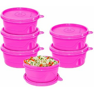 Cello Max Fresh Round Containers Set Of 6Pcs 375Ml-Pink
