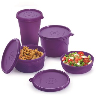 Cello Max Fresh Round Containers Set Of3Pcs 225+375+550Ml+ 1 Max Fresh Dinking Glass Cum Container-  Purple