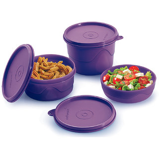 Cello Max Fresh Round Containers Set Of 3Pcs 225+375+550Ml -Purple