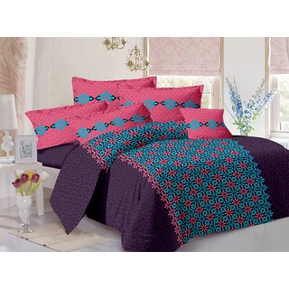 Valtellina Purple  Abstract Design Eco-Friendly Cotton Double Bedsheet with 2 CONTRAST Pillow Cover-Best TC-175