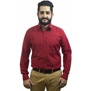 Aces Blue Dark Red Collared Full Sleeve Poly Cotton Shirt