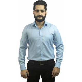 Aces Blue Ice Blue Collared Full Sleeve Linen Shirt