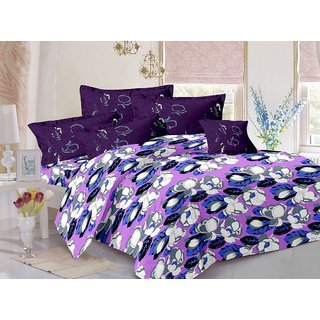 Valtellina Purple  Floral Design Super Soft Cotton Double Bedsheet with 2 CONTRAST Pillow Cover-Best TC-175