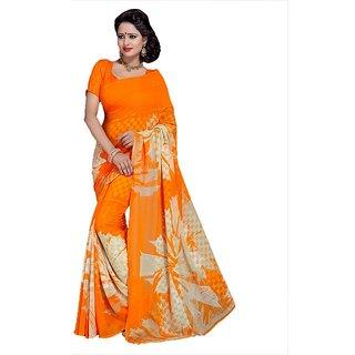 Snapshopees Self Designer Printed Green Silk Saree (Orange)