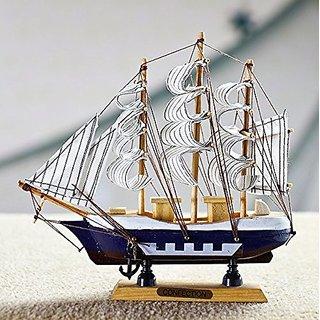 Jaycoknit Mediterranean Seas Lucky Wooden Handcrafted Ship Part III Showpiece-24 cm