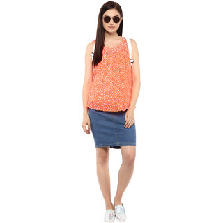 Orange Printed Pleated Top - Women Casual Wear
