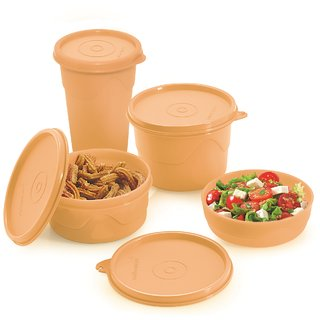 Cello Max Fresh Round Containers  Set Of 3Pcs 225+375+550Ml + 1 Max Fresh Dinking Glass Cum Container- Peach