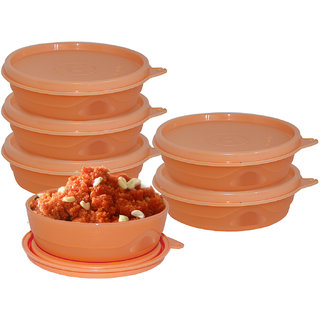 Cello Max Fresh Round Containers  Set Of 6Pcs 225Ml-Peach