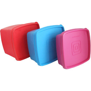 Cello Max Fresh Square  Containers Set Of3Pcs 225Ml -Assorted Colours