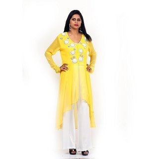 Amalgam Women Georgette Yellow Tunic With White Silver Embroidery