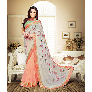 Vaikunth Pure Georgette Multicoloured Printed Party Wear Saree With Unstitched Blouse